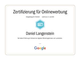 lr praxismarketing heidelberg zertifikat zertifizierung onlinewerbung vertrieb google - Langenstein & Reichenthaler - Agentur für Praxismarketing