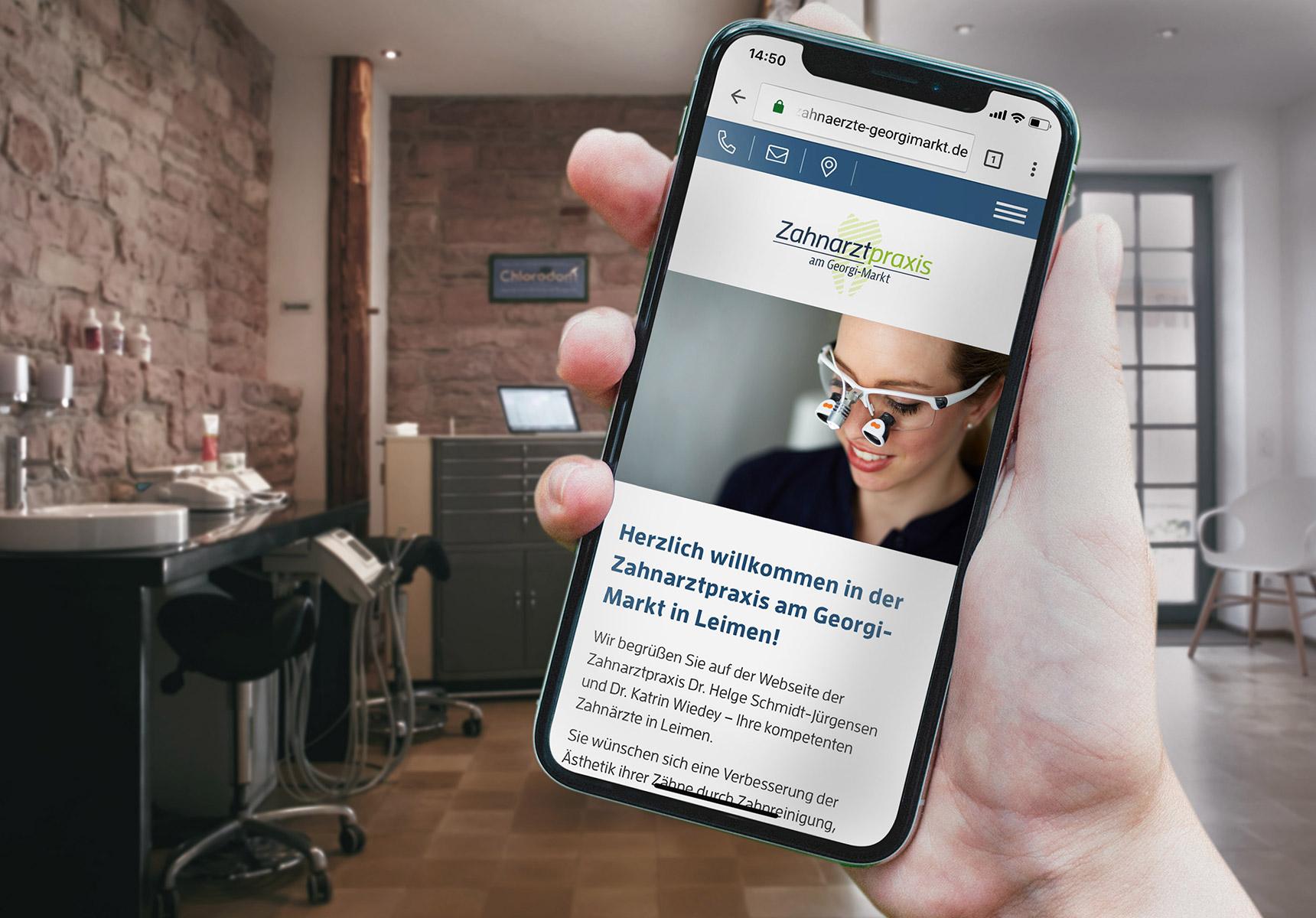 lr praxismarketing zahnarztpraxis am georgimarkt responsive design iphone x - Langenstein & Reichenthaler - Agentur für Praxismarketing