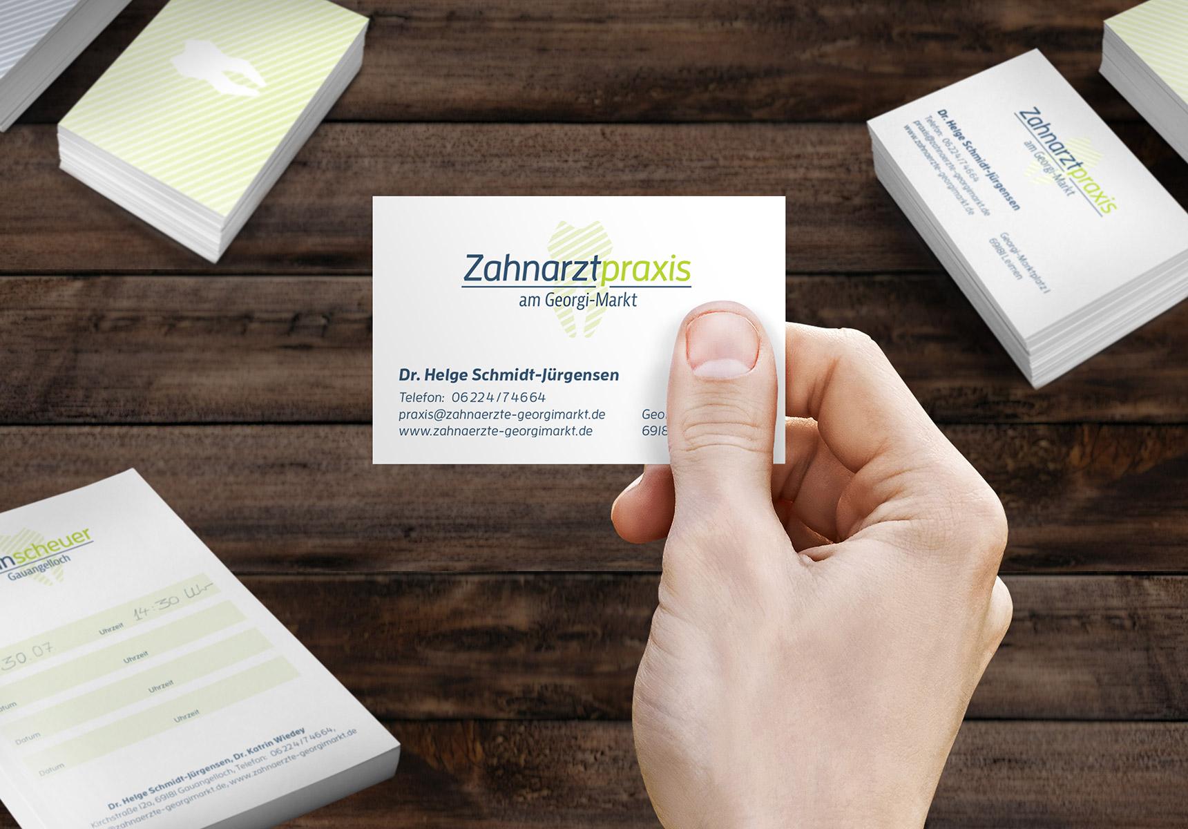 lr praxismarketing zahnarztpraxis am georgimarkt visitenkarten design ci - Langenstein & Reichenthaler - Agentur für Praxismarketing